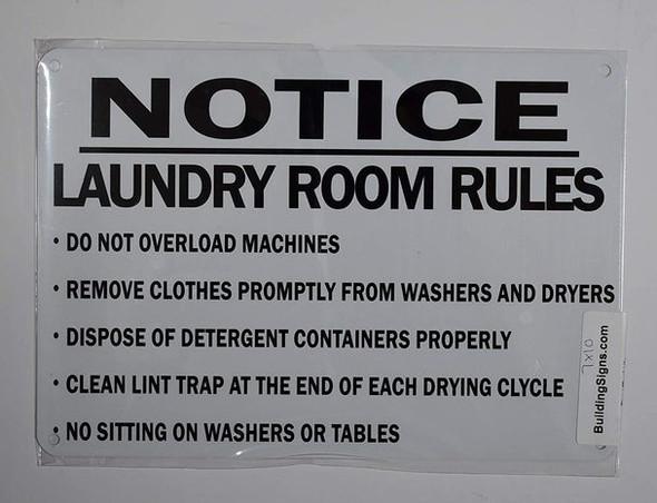 Laundry Room Rules Sign (White,Aluminum 7X10)-(ref062020)