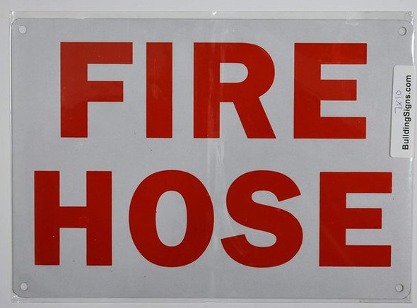 SIGNS FIRE Hose Sign (Reflective !!!!!!! White,Aluminum