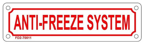 ANTI FREEZE SYSTEM SIGN (WHITE, ALUMINIUM