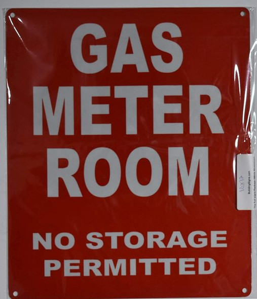 SIGNS Gas Meter Room Sign (Red, Reflective,