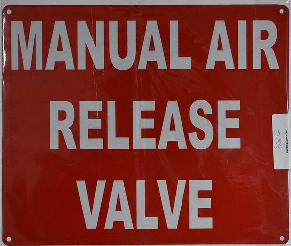 SIGNS Manual AIR Release Valve Sign (Red,