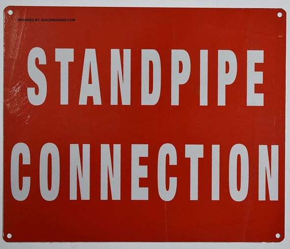 SIGNS Standpipe Connection Sign (Red, Reflective, Aluminium