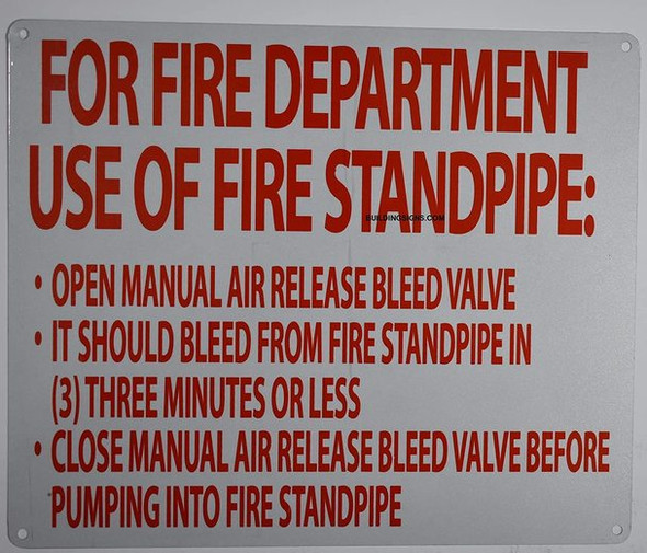 Manual air Release Sign (White, fd