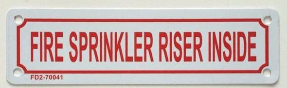 SIGNS FIRE Sprinkler Riser Inside Sign (White,Aluminium,