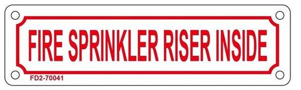 FIRE Sprinkler Riser Inside Sign (White,Aluminium,