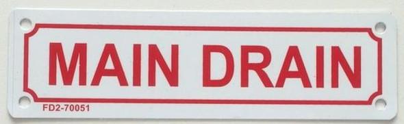 SIGNS MAIN DRAIN SIGN ( WHITE, ALUMINIUM,