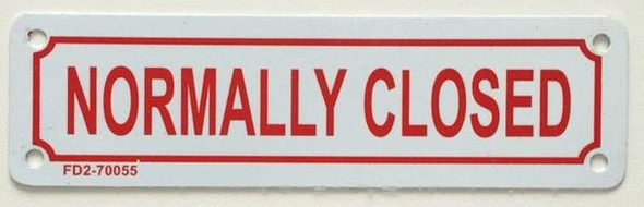 SIGNS NORMALLY CLOSED SIGN (WHITE, ALUMINIUM 2X7