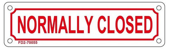 NORMALLY CLOSED SIGN (WHITE, ALUMINIUM 2X7