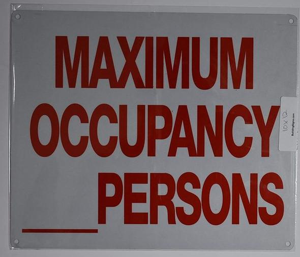 Occupancy Sign (White, Reflective, Aluminium 10x12)-(ref062020)
