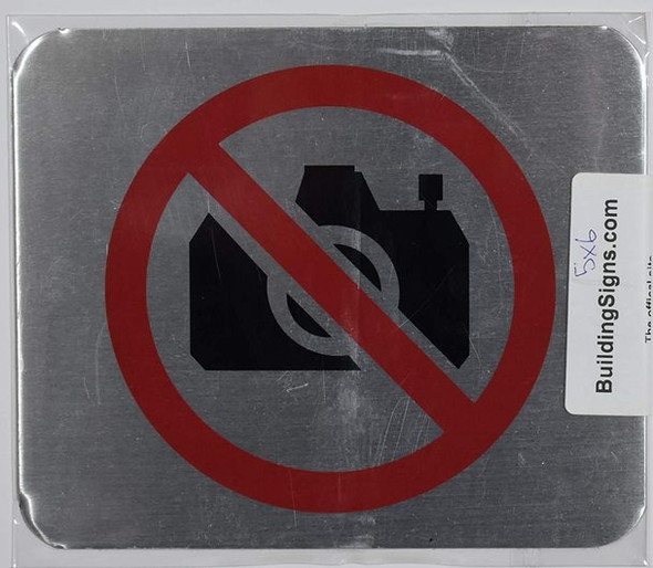NO Pictures Symbol Sign (Brush Silver,Double