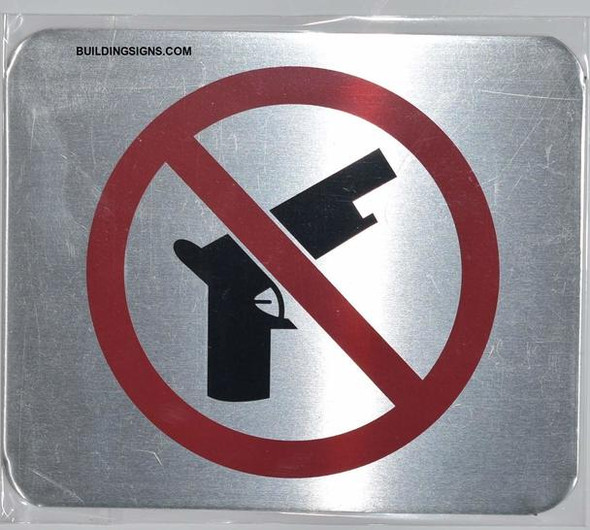 SIGNS NO Guns Symbol Sign (Brush