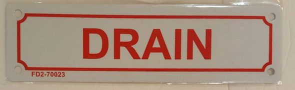 SIGNS DRAIN SIGN (ALUMINUM SIGNS 2X7) (White)-(ref062020)