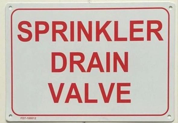 SIGNS SPRINKLER DRAIN VALVE SIGN ( WHITE,