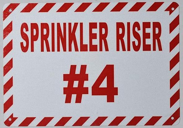 Sprinkler Riser #4 Sign (White, Reflective