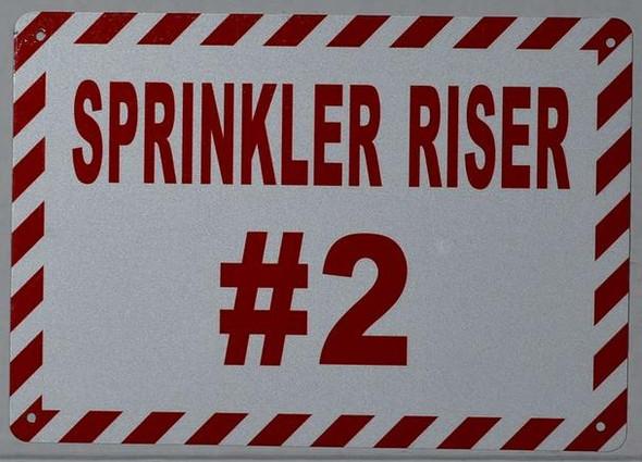 Sprinkler Riser #2 Sign (White, Reflective