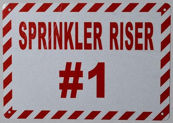 Sprinkler Riser #1 Sign (White, Reflective