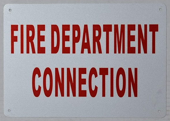 Fire Department Connection Sign Sign (White,