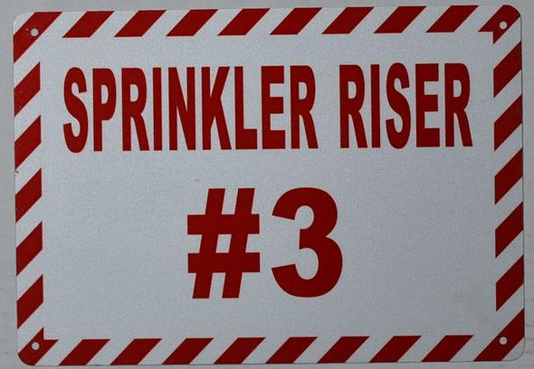 SIGNS Sprinkler Riser #3 Sign (White, Reflective