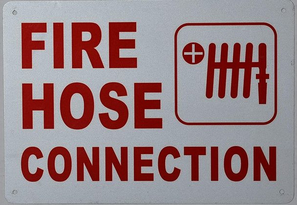FIRE Hose Connection Sign (White, Reflective