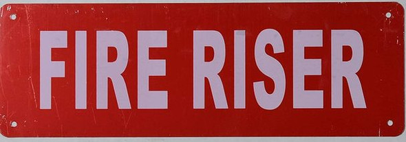 SIGNS FIRE Riser Sign (RED Reflective, Aluminium