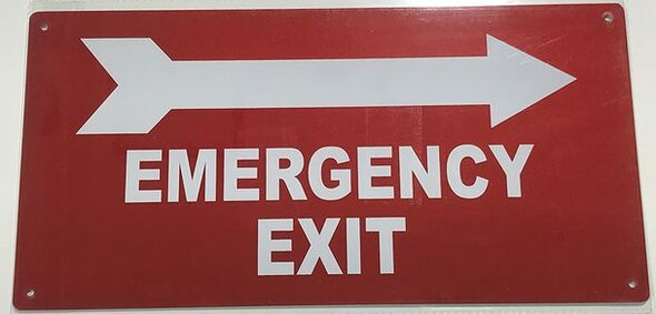 SIGNS EMERGENCY EXIT WITH ARROW RIGHT SIGN
