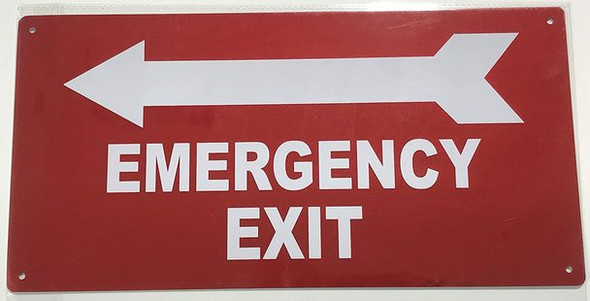 SIGNS EMERGENCY EXIT WITH ARROW LEFT SIGN