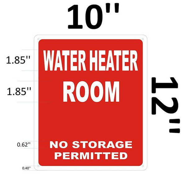 SIGNS WATER HEATER ROOM SIGN - RED