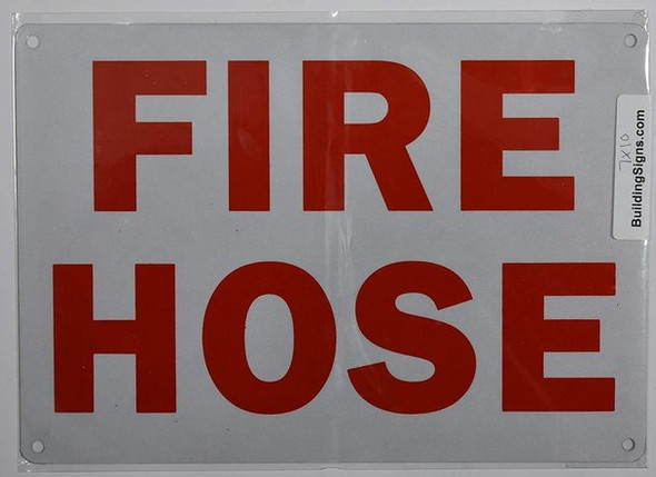 SIGNS FIRE Hose Sign (White reflective,Aluminum-Rust Free