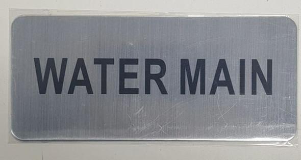 WATER MAIN SIGN - BRUSHED ALUMINUM
