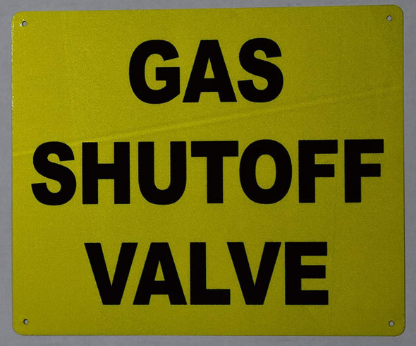 SIGNS Gas SHUT-OFF Valve Sign (Aluminium, Yellow