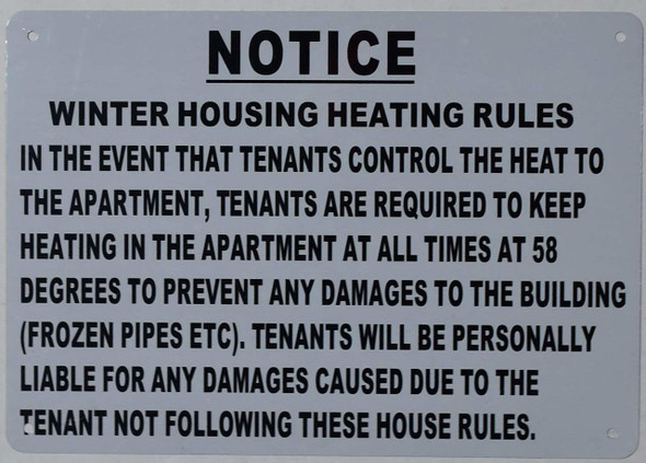 SIGNS Winter HOUSING Heating Rules Sign (White,