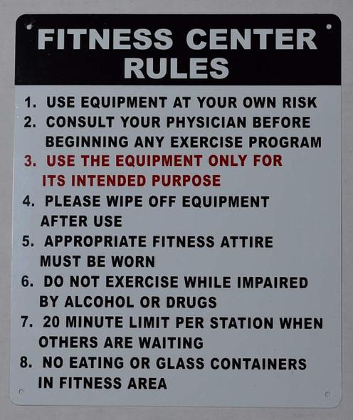 Fitness Center Rules Sign-Vertical (White,Aluminium 10x12)-(ref062020)