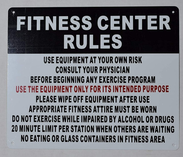 Fitness Center Rules Sign-Horizontal (White,Aluminium 10x12)-(ref062020)