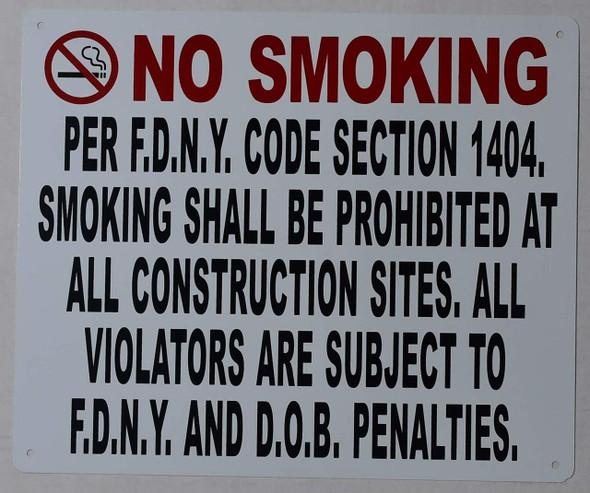 NO Smoking Sign -DOB NYC (White,Aluminium