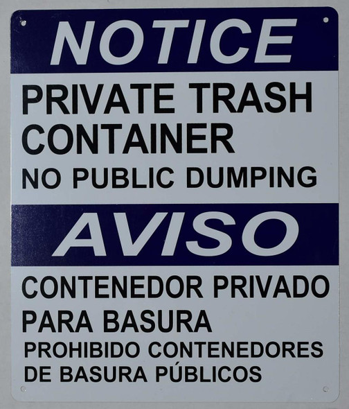 SIGNS Private Trash Container NO Public Dumping
