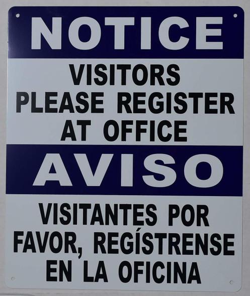 Visitors Please Register at Office Bilingual