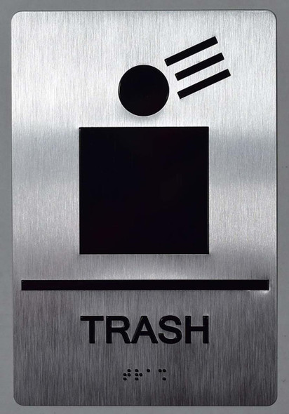 Trash Sign -Tactile Signs (Aluminium,Silver,Size 6x9)-The