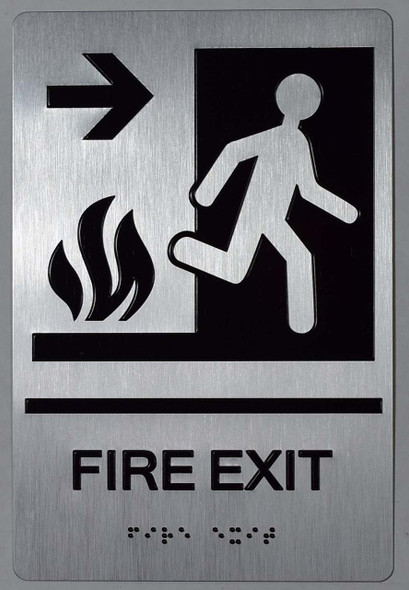 FIRE EXIT Right Arrow Sign -Tactile