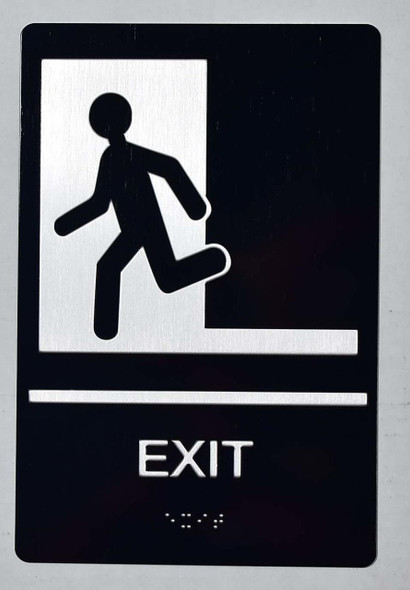 SIGNS EXIT Sign -Tactile Signs (Aluminium,Black,Size 6x9)-The