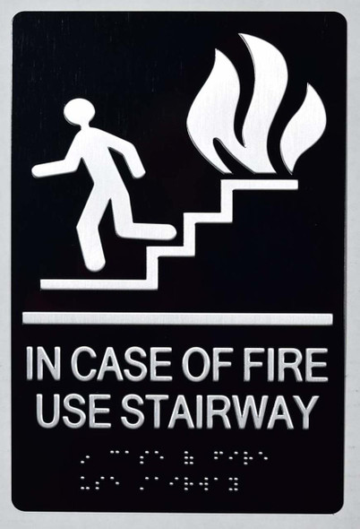 SIGNS In CASE of FIRE USE Stairway-(Aluminium,Black,Size