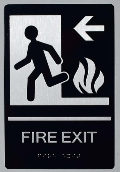 SIGNS FIRE EXIT Left Arrow Sign -Tactile