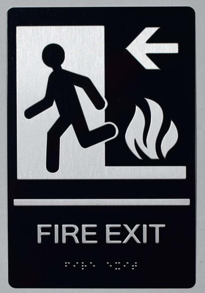FIRE EXIT Left Arrow Sign -Tactile