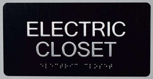 SIGNS Electric Closet Sign (Aluminium !!, Black,Size