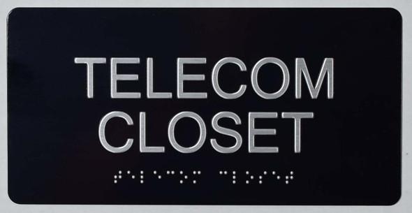 SIGNS Telecom Closet Sign -Tactile Signs (Aluminium,Black,Size