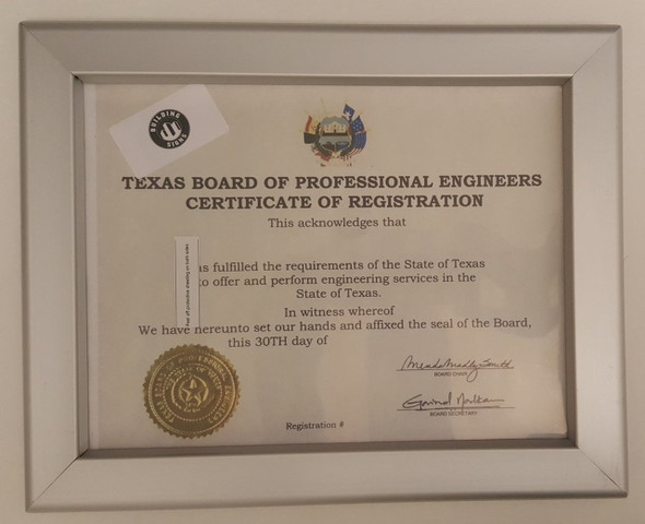 SIGNS certificate frame state of TEXAS 8.5
