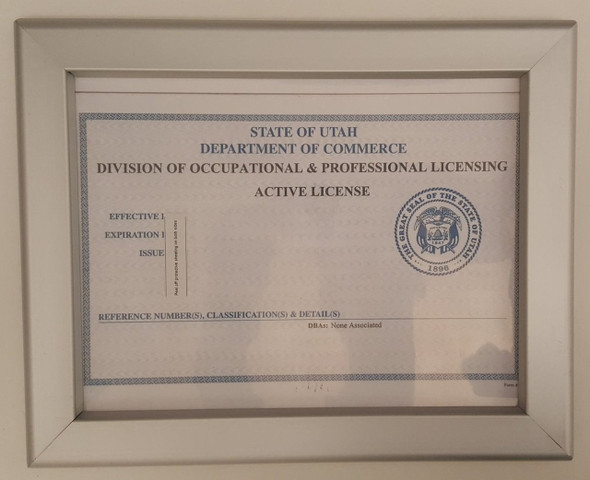 SIGNS Business license frame UTAH 8.5 x