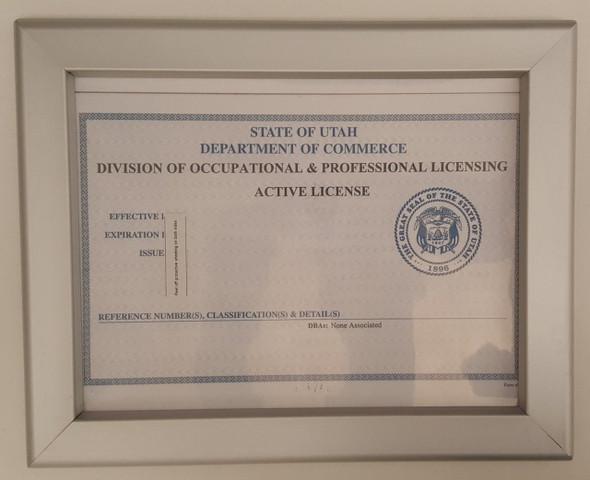 Business license frame UTAH 8.5 x