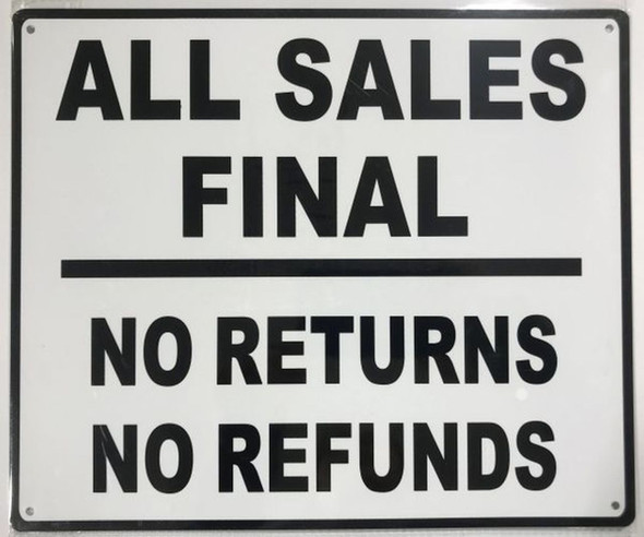 SIGNS ALL SALES FINAL SIGN ( RUST