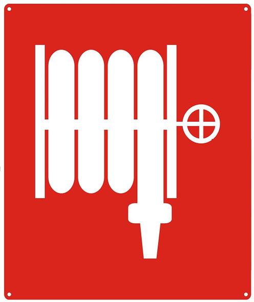 FIRE HOSE SYMBOL sign 10x12 Red
