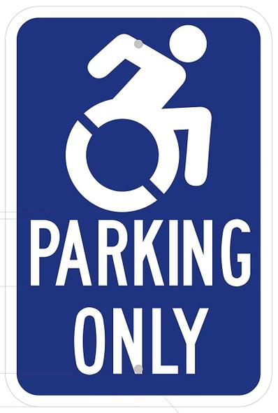 "Handicap""Parking ONLY"" Sign Blue(Rust Free Aluminium-Heavy"